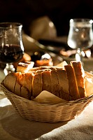 Table with bread and wine