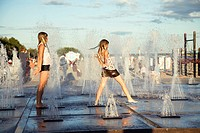 Teenage Girls on Beach Promenade in Pärnu, Estonia, Europe
