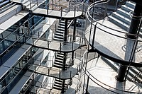 emergency stairs, shopping center Las Arenas, Barcelona, Catalonia, Spain