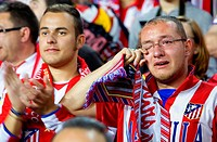 Fan crying Atlético de Madrid football fans Fútbol Club Barcelona stadium  Barcelona, catalonia,spain