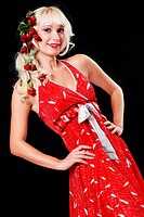 Blond Frau mit Rosen in Haare III.