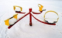 Snow covered playground
