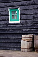 Green painted window, historic Dutch home, open air museum of the Zaanse Schans, Zaanstad, the Netherlands