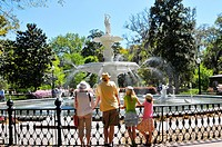 Family views Large water fountain in Forsyth Park in the historic district of Savannah Georgia