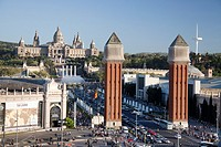 Montjuich National Palace and fountains, Venetian Towers, Plaça d´Espanya square, Barcelona, Catalonia, Spain