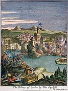 CAPTURE OF QUEBEC, CANADA.The capture of Quebec by the English in 1629. Color engraving from Louis Hennepin's 'New Discovery ..' 1698.