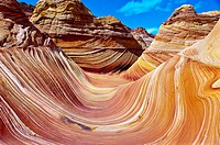 'The Wave', a 190 million year old Jurassic-age Navajo sandstone rock formation, Coyote Buttes North, Paria Canyon-Vermillion Cliffs Wilderness Area, ...
