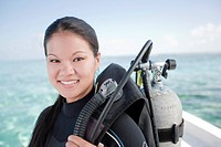 Chinese woman preparing to go scuba diving