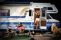 Couple vacationing in recreational vehicle