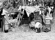 MIGRANT WORKER, 1939.A migrant worker's shack in a shanty town, near Canal Point, Florida. Photograph by Marion Post Wolcott, 1939.