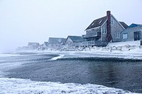 Ocean Front homes during Winter Storm Scituate, Massachusetts