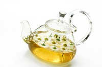 Scented, Mayweed, tea, with, Scented, Mayweed, blossoms, Matricaria, chamomilla, Matricaria, recutita, Chamomilla, recutita, teapot,