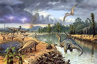 Early Cretaceous life. Computer artwork of a number of different prehistoric creatures that existed around 125_130 million years ago during the Barrem...