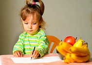 Child draws about fruit