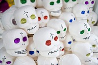 Sugar skulls for sale at the Day of the Dead market in Guanajuato.