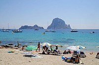 Vacationists, at, beach, Cala, d´Hort, Es, Vedra, Ibiza, Pityuses, Balearic, Islands, Spain,