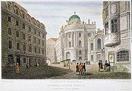 VIENNA, 1822.St. Michael's Place, Vienna, Austria, with the Imperial Riding School, center, and the Hofburgtheater (where Mozart's 'Cosi fan tutte' wa...