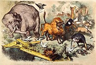 REPUBLICAN ELEPHANT, 1874.The first appearance of the elephant as the symbol of the Republican party: an 1874 cartoon by Thomas Nast denying that Pres...