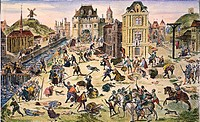 MASSACRE OF HUGUENOTS.The massacre of the Huguenots in Paris, France, on St. Bartholomew's Day, 24 August 1572. Color engraving after the painting by ...