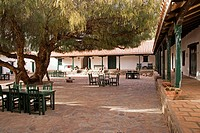 typical argentine courtyard, molinos, salta, argentina