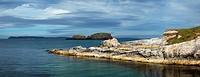 Ballintoy Harbour With Rathlin Island In The Distance, Ballintoy, County Antrim, Northern Ireland
