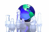 Globe among chess pieces