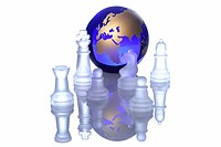 Gold globe among chess pieces