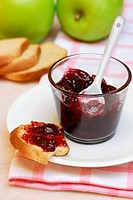 Breakfast, zwieback, with, jam, biscuit, rusk, jelly,