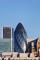 The Swiss Re Gherkin and other buildings, London, UK