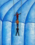 Illustration of a trapeze act with business people