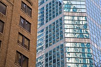Glass and brick skyscrapers
