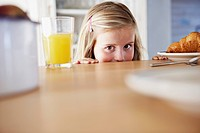 Girl at kitchen counter