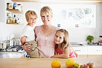 Mother and children in kitchen