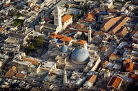 Aerial photograph of the Church of the Holy Sepulchre in the Christian quarter in the old city of Jerusalem