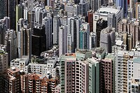 Aerial view of Hong Kong downtown, China