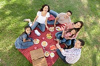 Family with two girls 7-9, 10-12 having picnic in park (thumbnail)