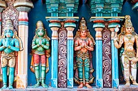 Colourful frieze detail at the Sri Ranganathaswamy temple, Trichy, Tamil Nadu