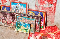 Hindu paintings in frames at temple, Trichy, Tamil Nadu