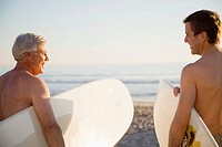 Two men on beach with surfboards (thumbnail)