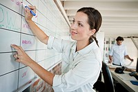 Smiling woman writing on whiteboard in office