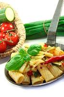 Tortiglione mit feurigen Chili und Zuccini