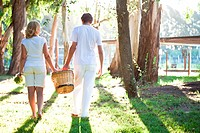 Mature couple walking with basket in meadow