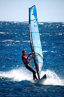 Egypt, Sinai, Dahab, windsurfer.