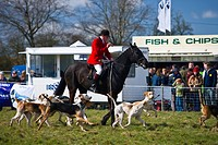 England, Oxfordshire, Lambourn. The master of foxhounds blows his horn to signify the start of the Parade of the Vine and Craven Foxhounds at the 2010...