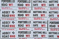 England, London, Notting Hill. Portobello Road, Notting Hill Gate and Abbey Road miniature street sign souvenir fridge magnets for sale
