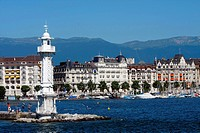 Switzerland, Geneva, bains des Paquis, white lighthouse