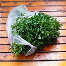 Fresh parsley in plastic bag