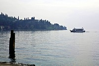 Italy, boat on the lake Garda