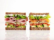 Sliced sausage and salmon sandwiches