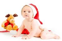 baby mit weihnachts mütze